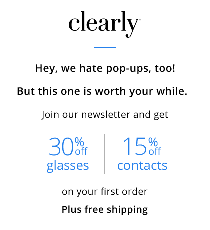 First time customer offer 30% off glasses and 15% off contacts including free shipping